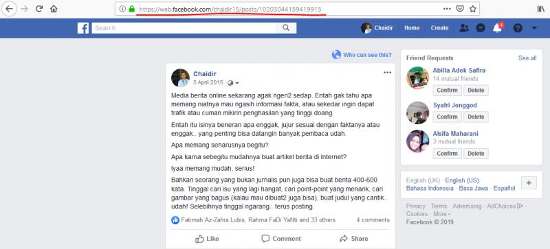 halaman postingan facebook cara copy link facebook