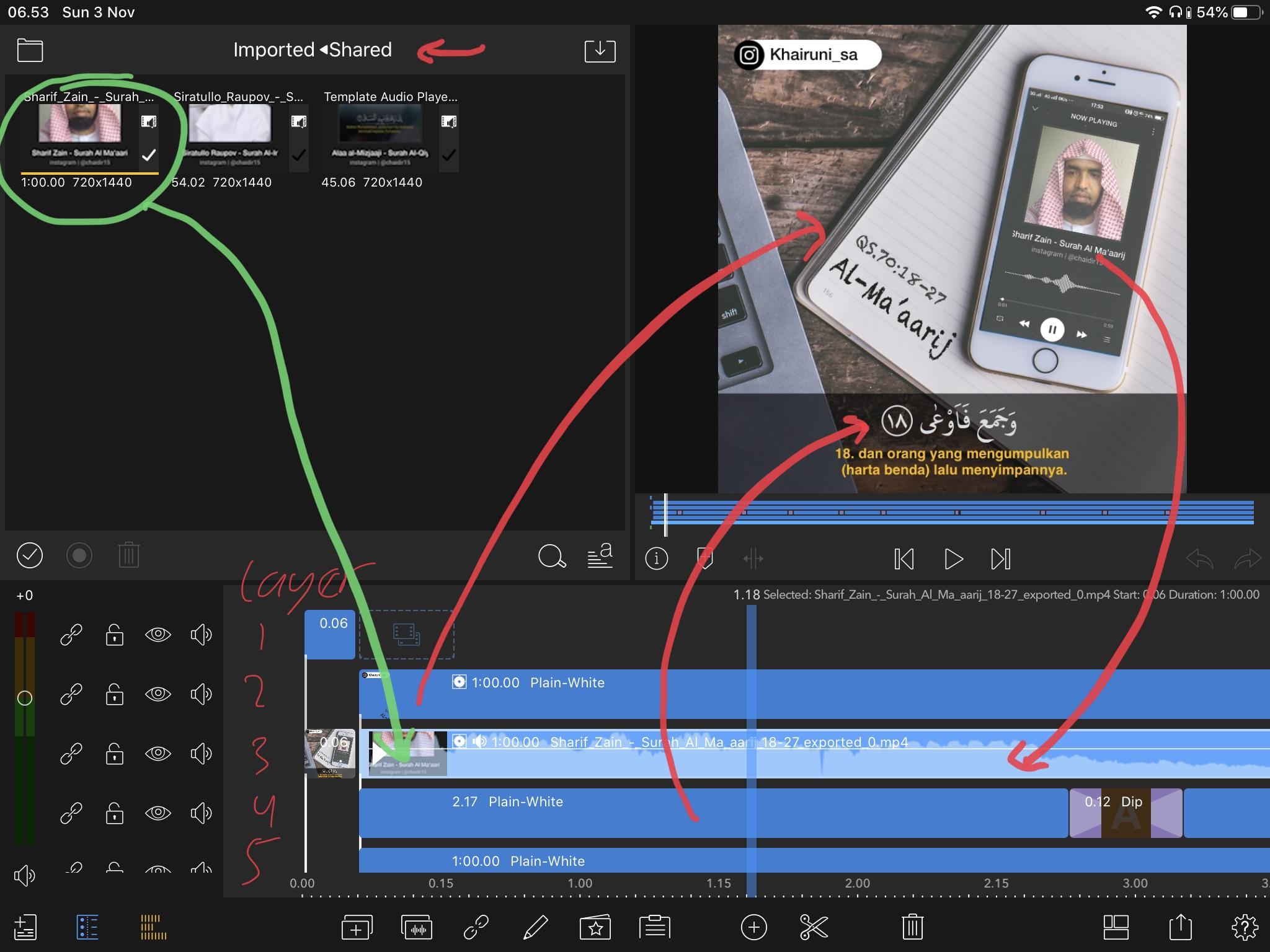 Cara membuat video instagram murottal iphone