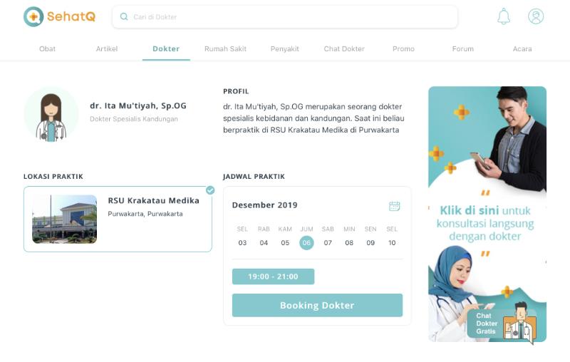 Profil dokter dan rumah sakti di sehatq.com